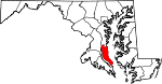 Map of Maryland showing Calvert County