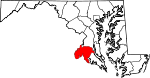Map of Maryland showing Charles County