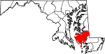 Map of Maryland showing Dorchester County