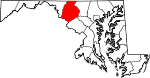 Map of Maryland showing Frederick County
