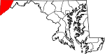 Map of Maryland showing Garrett County