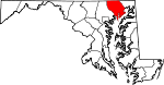 Map of Maryland showing Harford County