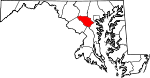Map of Maryland showing Howard County