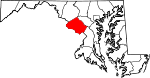 Map of Maryland showing Montgomery County