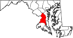 Map of Maryland showing Prince George's County