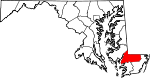 Map of Maryland showing Wicomico County