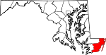 Map of Maryland showing Worcester County