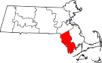 Map of Massachusetts showing Bristol County