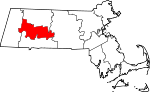 Map of Massachusetts showing Hampshire County