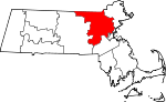 Map of Massachusetts showing Middlesex County