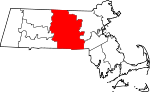 Map of Massachusetts showing Worcester County