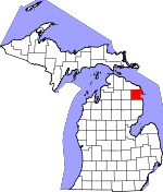 Map of Michigan showing Alpena County