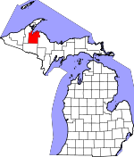 Map of Michigan showing Baraga County
