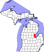 Map of Michigan showing Bay County