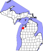 Map of Michigan showing Benzie County