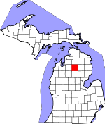 Map of Michigan showing Crawford County