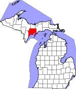 Map of Michigan showing Delta County