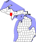 Map of Michigan showing Dickinson County