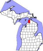 Map of Michigan showing Emmet County