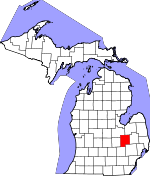 Map of Michigan showing Genesee County