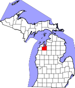Map of Michigan showing Grand Traverse County