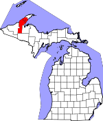 Map of Michigan showing Houghton County