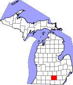 Map of Michigan showing Jackson County