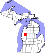 Map of Michigan showing Lake County