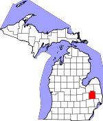 Map of Michigan showing Lapeer County