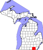 Map of Michigan showing Lenawee County