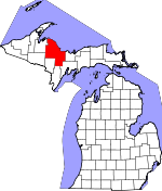 Map of Michigan showing Marquette County