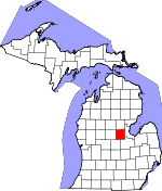 Map of Michigan showing Midland County