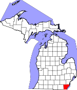 Map of Michigan showing Monroe County