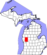 Map of Michigan showing Newaygo County