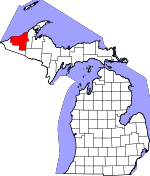 Map of Michigan showing Ontonagon County