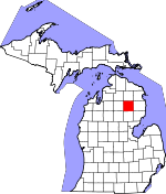 Map of Michigan showing Oscoda County