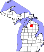 Map of Michigan showing Otsego County