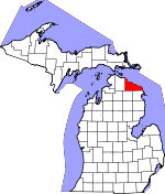 Map of Michigan showing Presque Isle County