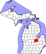 Map of Michigan showing Saginaw County
