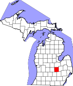 Map of Michigan showing Shiawassee County