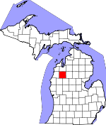 Map of Michigan showing Wexford County