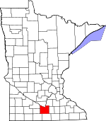 Map of Minnesota showing Blue Earth County