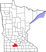 Map of Minnesota showing Brown County