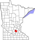 Map of Minnesota showing Carver County