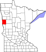 Map of Minnesota showing Clay County
