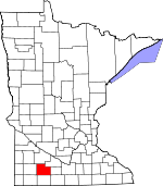 Map of Minnesota showing Cottonwood County