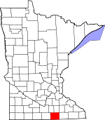 Map of Minnesota showing Freeborn County