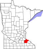 Map of Minnesota showing Goodhue County
