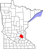 Map of Minnesota showing Hennepin County