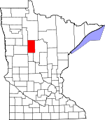 Map of Minnesota showing Hubbard County